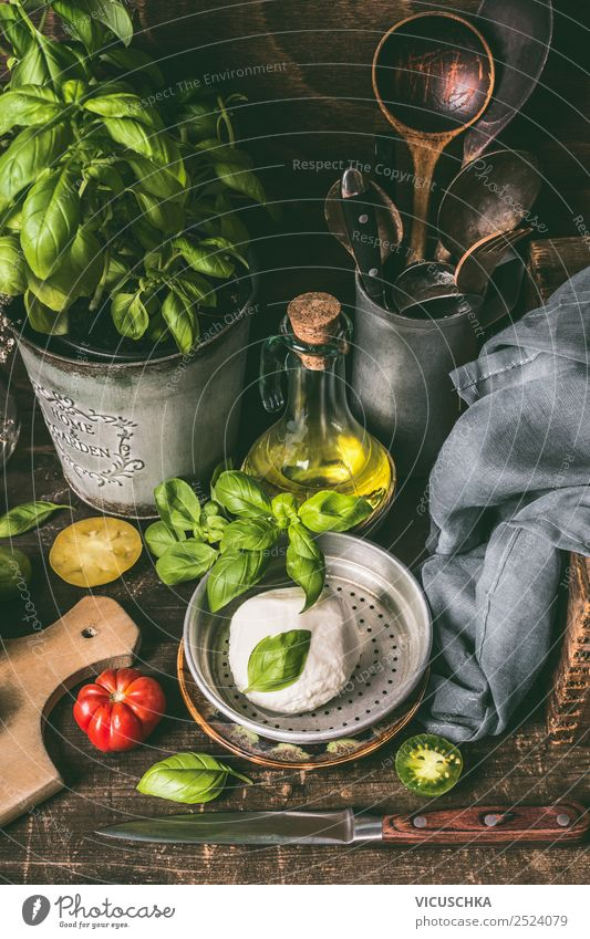 Food photograph Style Living or residing Design Nutrition Table Kitchen Herbs and spices Organic produce Cooking Crockery Still Life Knives Tomato Rustic