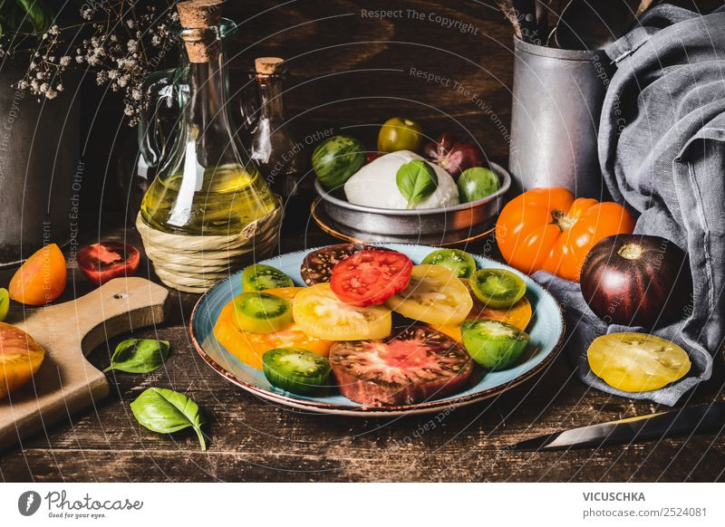 Tomato salad rustic Food Vegetable Nutrition Lunch Organic produce Vegetarian diet Diet Crockery Plate Cutlery Style Design Healthy Eating Living or residing