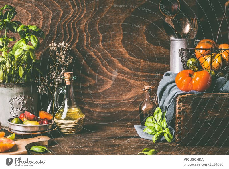Rustic cuisine with colorful tomatoes, still life Food Vegetable Herbs and spices Cooking oil Nutrition Lunch Dinner Organic produce Vegetarian diet Diet