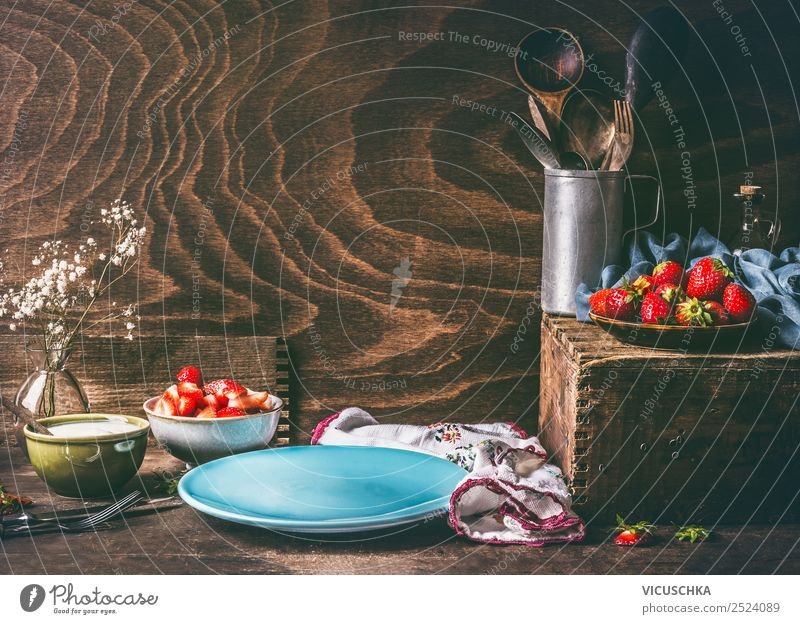 Still life with strawberries on the kitchen table Food Fruit Nutrition Breakfast Organic produce Vegetarian diet Crockery Plate Style Design Healthy Eating