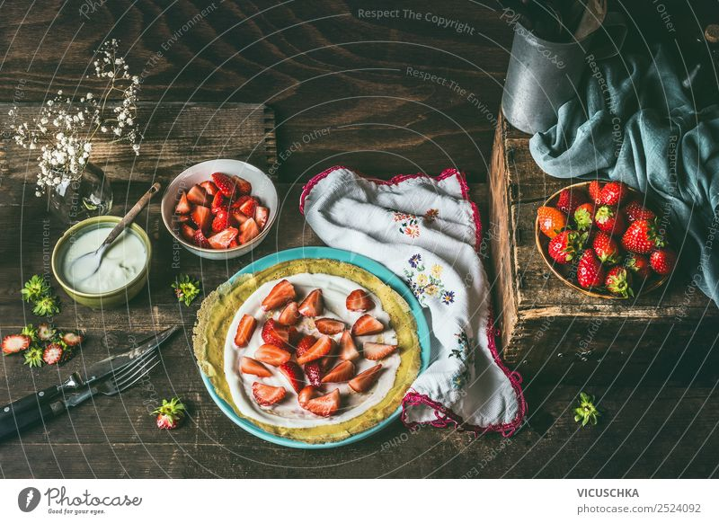 Pancakes with yoghurt and strawberries Food Fruit Dough Baked goods Dessert Nutrition Crockery Plate Bowl Spoon Style Design Crêpe Still Life Cooking Strawberry