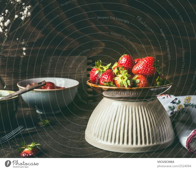 Bowl with strawberries on a rustic kitchen table Food Fruit Dessert Nutrition Breakfast Organic produce Crockery Style Design Healthy Healthy Eating Summer