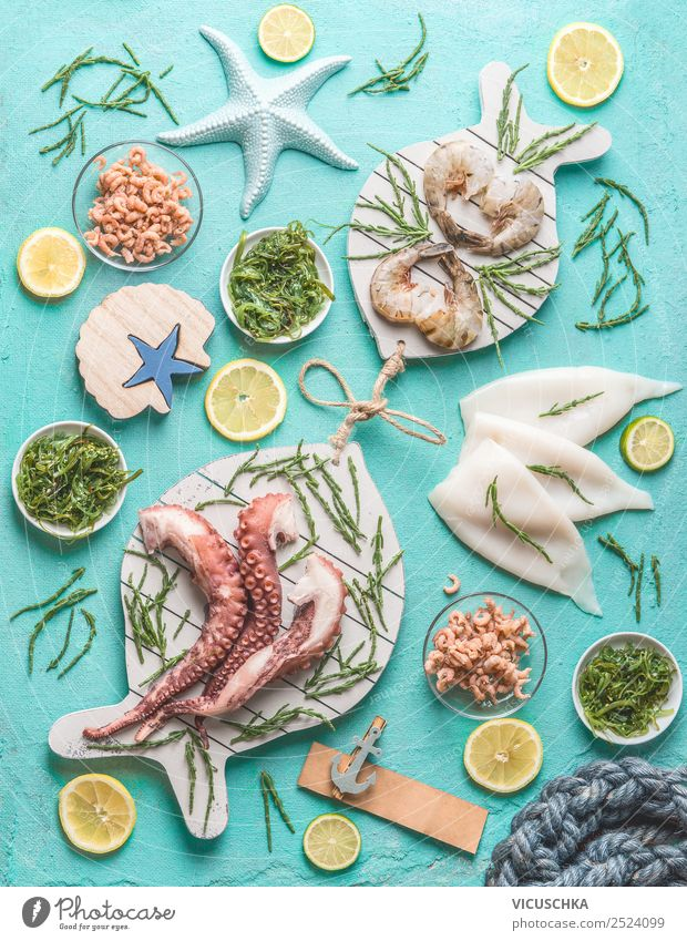 Seafood assortment Food Nutrition Lunch Crockery Shopping Style Design Healthy Eating Table Restaurant Shrimps Cooking Octopus North Sea crab Squid Algae