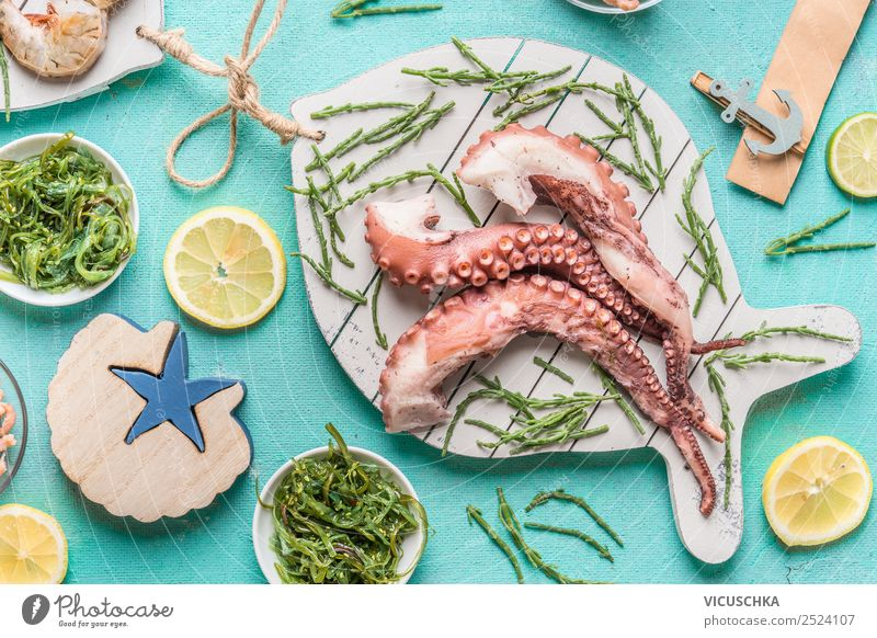 Octopus with algae and ingredients Food Seafood Nutrition Lunch Organic produce Vegetarian diet Diet Style Design Healthy Eating Table Restaurant Gourmet
