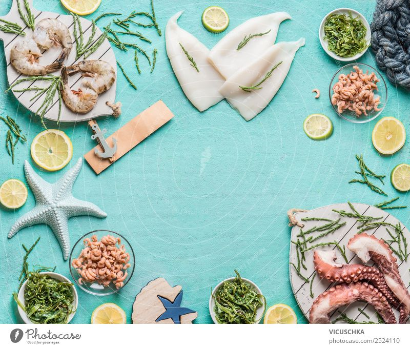 Various seafood on a blue background Food Fish Seafood Nutrition Lunch Vegetarian diet Diet Crockery Shopping Style Design Restaurant Background picture Shrimps