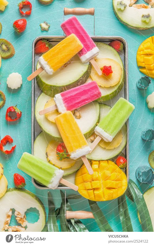 Fruit and ice cream on a stick Food Ice cream Nutrition Organic produce Vegetarian diet Crockery Shopping Style Design Summer Mango Kiwifruit Berries popsicles