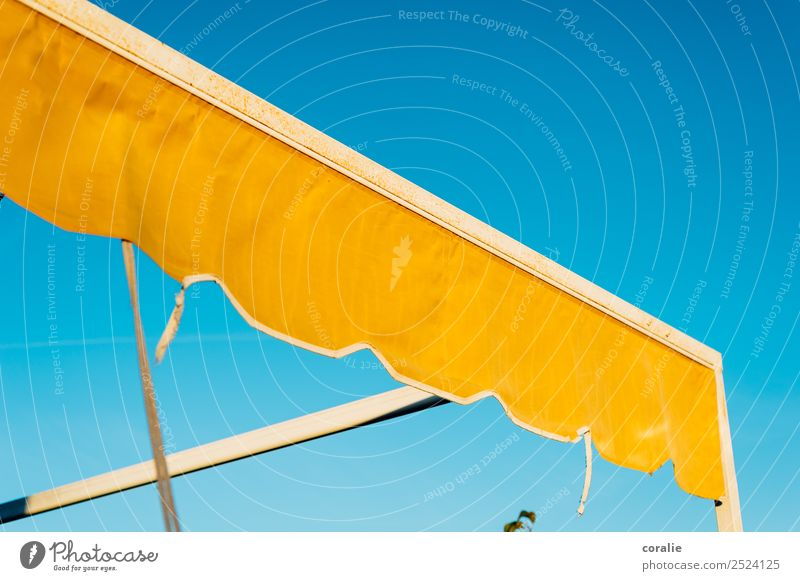 Yellow awning in summer Terrace Maritime Warmth Blue Sun blind Summer Summer vacation Yellow-orange Sky Sky blue Cloudless sky Spain Vacation destination