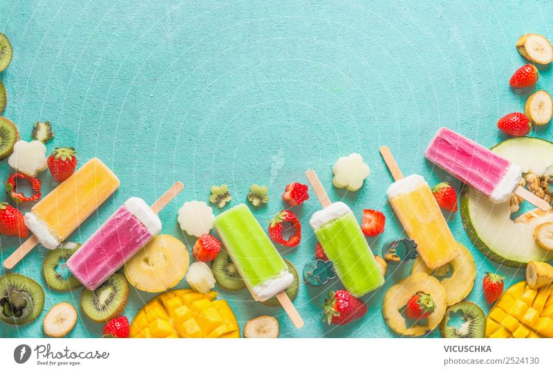 Colourful fruit ice cream with fruits and berries Food Fruit Ice cream Nutrition Organic produce Vegetarian diet Juice Style Design Summer Yellow Pink