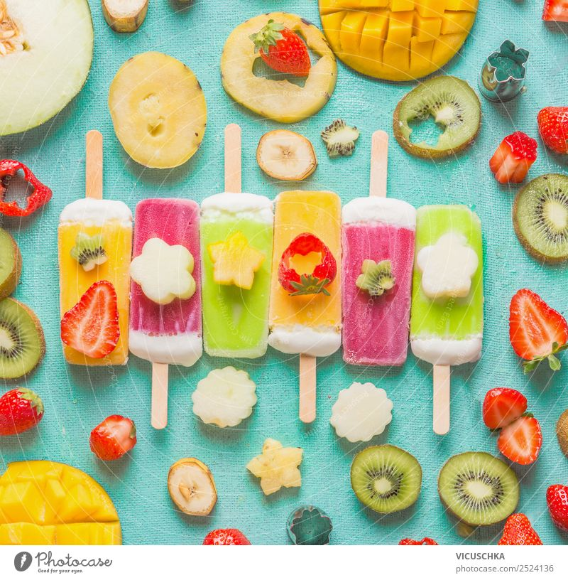 Colorful ice cream on a stick with fruit ingredients Food Fruit Ice cream Nutrition Organic produce Vegetarian diet Shopping Style Design Healthy Eating Summer