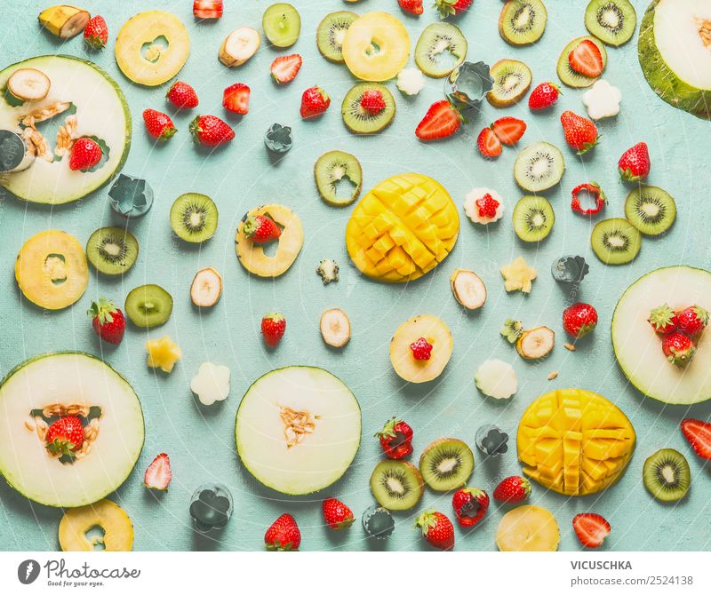 Fruit and berries sliced on blue Apple Orange Nutrition Organic produce Style Design Healthy Eating Yellow Background picture Mango Vitamin Berries Car Window