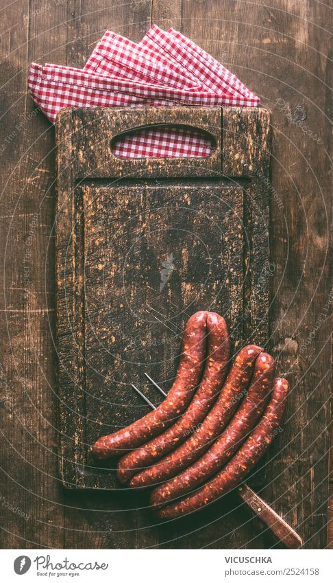 Background with fried sausages for grill Food Meat Sausage Nutrition Crockery Fork Shopping Style Design Barbecue (apparatus) Bratwurst Chopping board