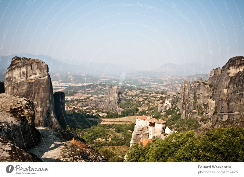 Meteora Monasteries II Nature Landscape Plant Earth Air Sky Cloudless sky Forest Hill Rock Mountain Vacation & Travel Religion and faith Greece Orthodoxy