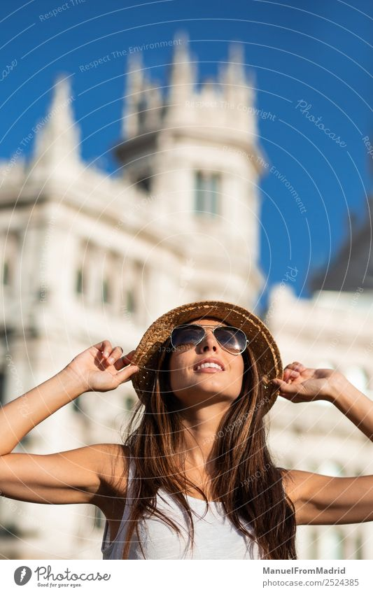 attractive young woman tourist having fun in Madrid city Lifestyle Beautiful Vacation & Travel Tourism Sightseeing Summer Woman Adults Town Downtown Sunglasses