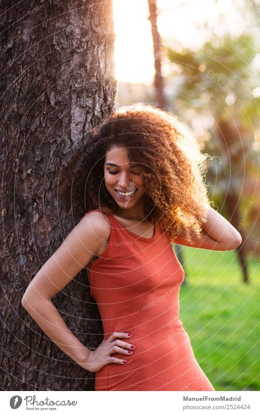 cheerful black afro woman outdoors Woman Human being Nature Summer Beautiful Green Sun Tree Joy Black Face Lifestyle Adults Happy Grass Freedom