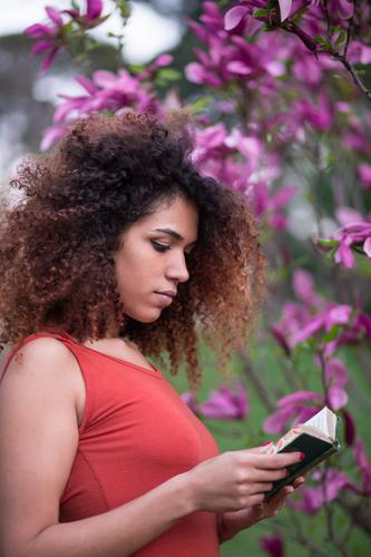 afro woman reading a book outdoors Woman Human being Nature Summer Beautiful Tree Flower Black Lifestyle Adults Happy Grass Garden School Leisure and hobbies