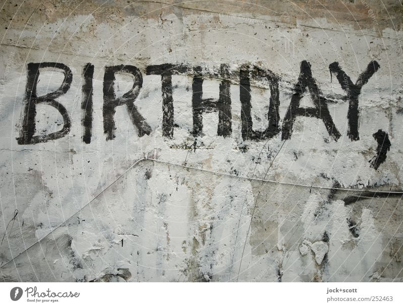 birthday greetings Birthday Cable Wall (building) Graffiti Word Feasts & Celebrations Hideous Trashy Gray Black Variable Date Change Letters (alphabet) plane