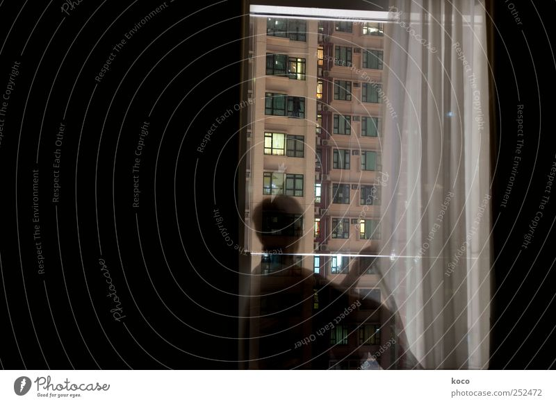 Woman Human being City Loneliness House (Residential Structure) Dark Window Adults Dream Building Glass Wait Facade Concrete High-rise Living or residing