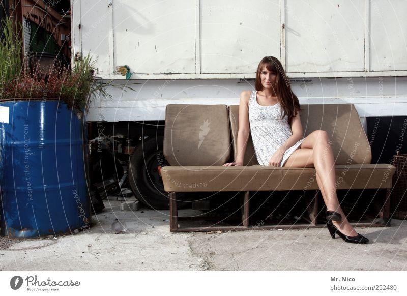 Woman Beautiful Summer Calm Loneliness Relaxation Feminine Adults Legs Contentment Skin Sit Wait Cool (slang) Posture Dress