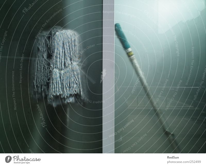 MOppING Cleaning mop Services Dirty Blue Gray Poverty Wipe Frosted glass Colour photo Subdued colour Exterior shot Deserted Copy Space right Copy Space bottom