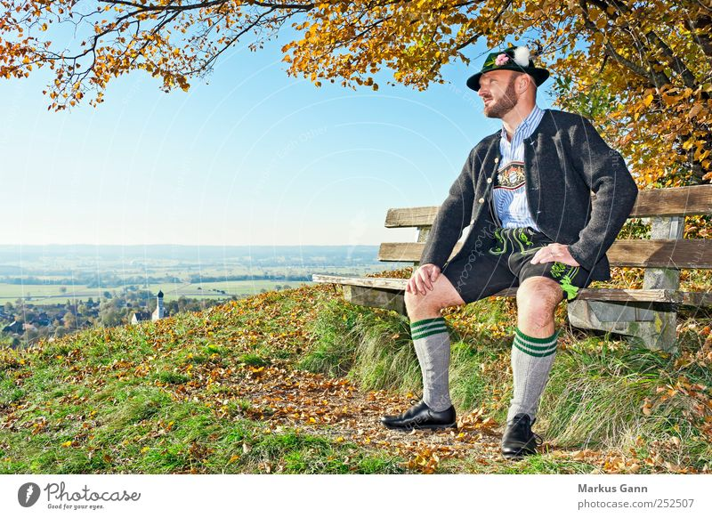 Human being Sky Man Tree Leaf Adults Relaxation Autumn Meadow Grass Style Horizon Wait Masculine Lifestyle Clothing