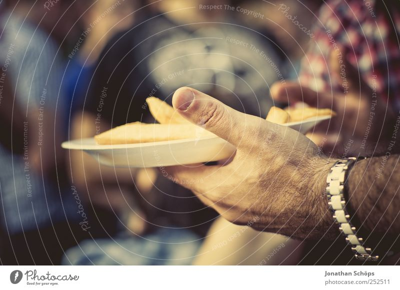 French fries! Food Nutrition Eating Fast food Finger food Plate Hand 1 Human being Group Relaxation Moody Contentment Friendship Wristwatch Unhealthy Crisps