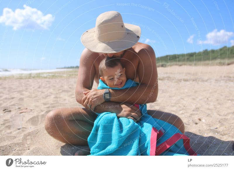 father and child Lifestyle Joy Harmonious Well-being Contentment Vacation & Travel Summer Summer vacation Sun Sunbathing Beach Parenting Education Human being