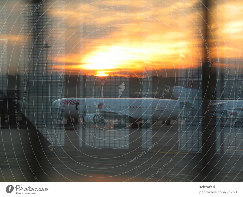 Vacation & Travel Lanes & trails Airplane Europe Target Airport Wanderlust Departure Arrival Airfield Evening sun