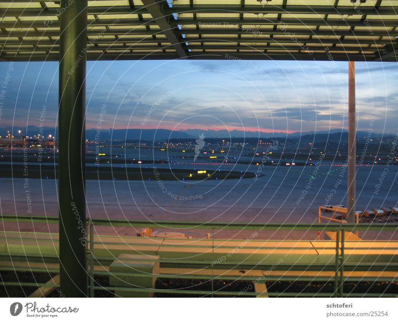 Vacation & Travel Architecture Airplane Flying Vantage point Airport Wanderlust Dusk Departure Platform Evening sun