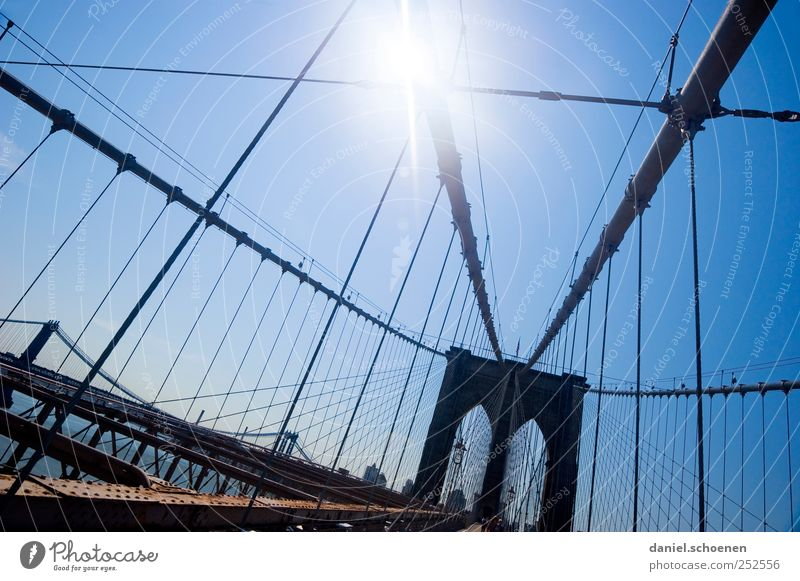 brooklyn bridge Vacation & Travel Tourism Far-off places Sightseeing City trip Cloudless sky Beautiful weather Town Skyline Bridge Tourist Attraction Landmark