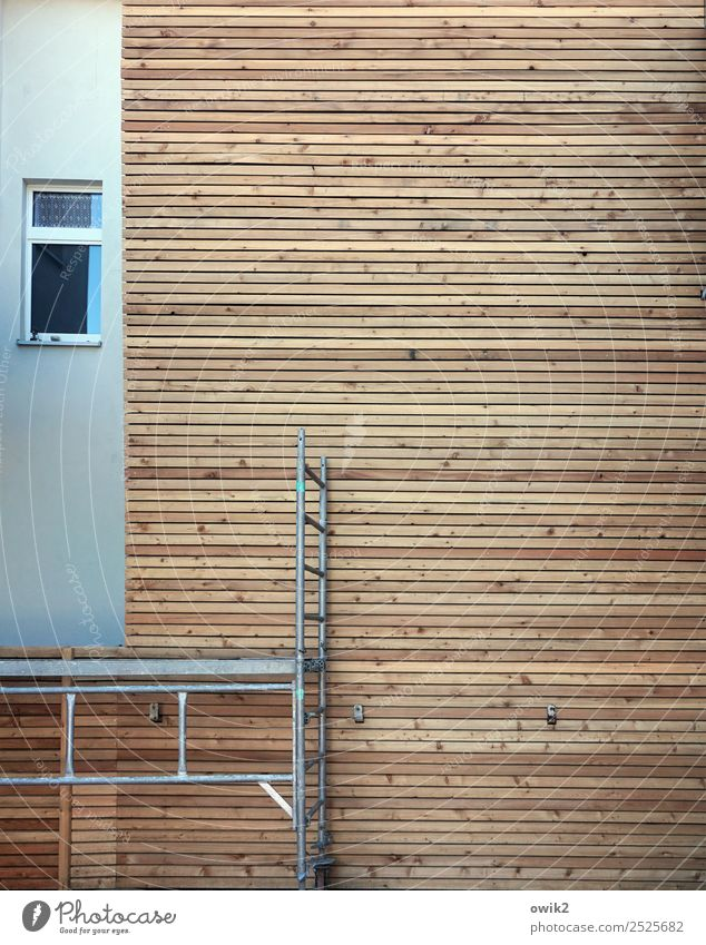 niche existence Technology House (Residential Structure) Wall (barrier) Wall (building) Facade Window Wall cladding Wood strip Wooden facade Scaffold Glass