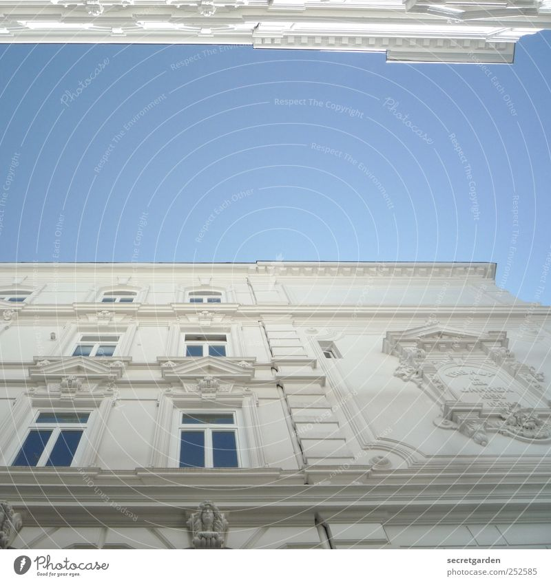 parallel world Cloudless sky Downtown Manmade structures Building Architecture Facade Window Blue White Old building Decoration Classicism Parallel
