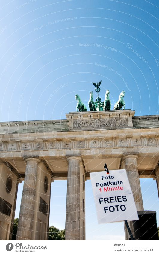 Sky Blue Sun Summer Berlin Funny Signs and labeling Photography Advertising Monument Beautiful weather Statue Landmark Downtown Capital city Tourist Attraction