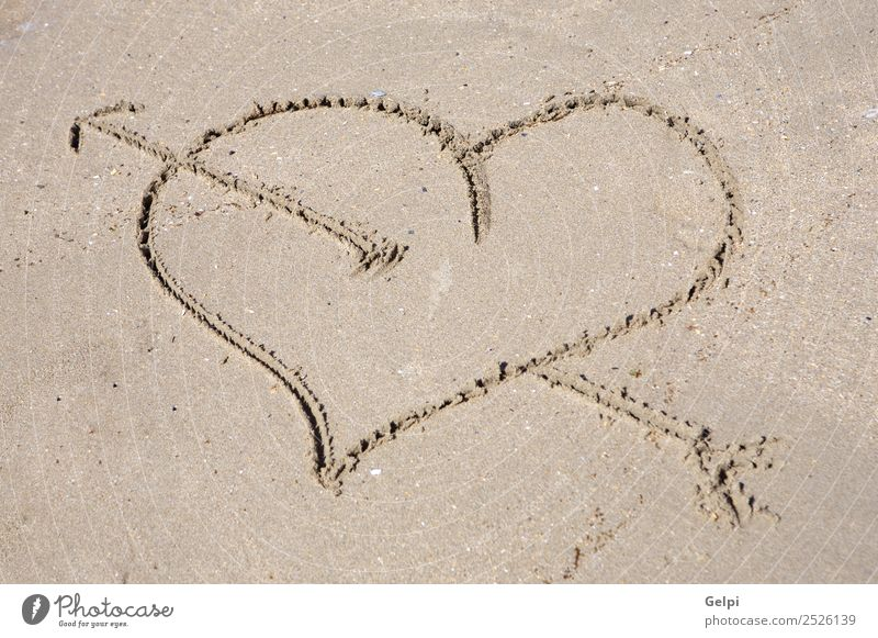 Heart drawn on sand for the day of St. valentine Beautiful Summer Beach Ocean Sand Coast Love Draw Write Wet Gold Emotions Passion Romance Puppy love Carve