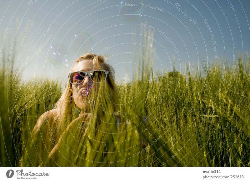 Human being Woman Youth (Young adults) Beautiful Plant Summer Joy Adults Feminine Playing Freedom Head Air Blonde Field Happiness