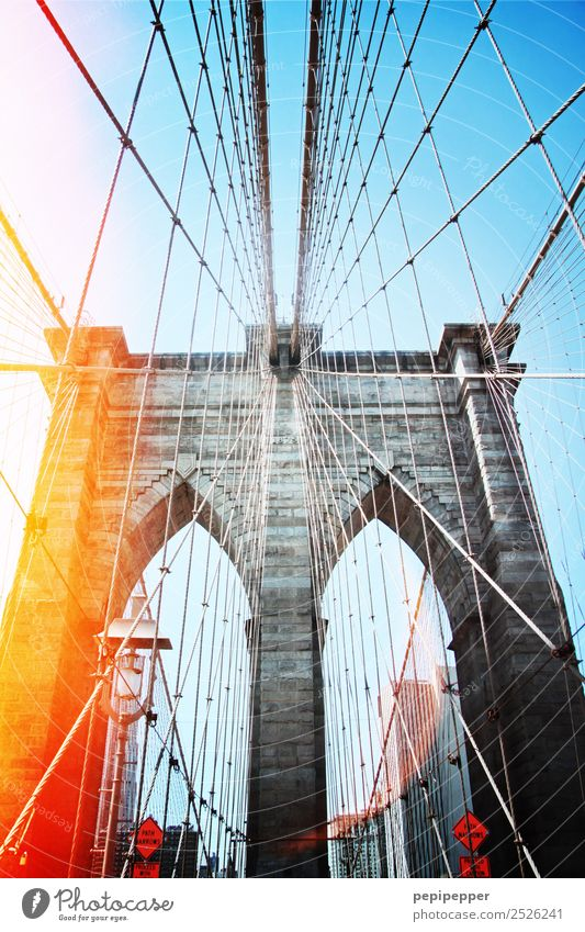 brooklyn bridge Vacation & Travel Tourism Sightseeing City trip Beautiful weather USA Capital city Downtown Bridge Manmade structures Architecture