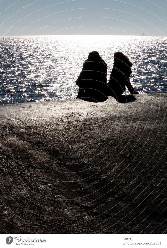 Human being Water Sun Vacation & Travel Beach Ocean Calm Relaxation Couple Horizon Sit Glittering Concrete Break North Sea Mole