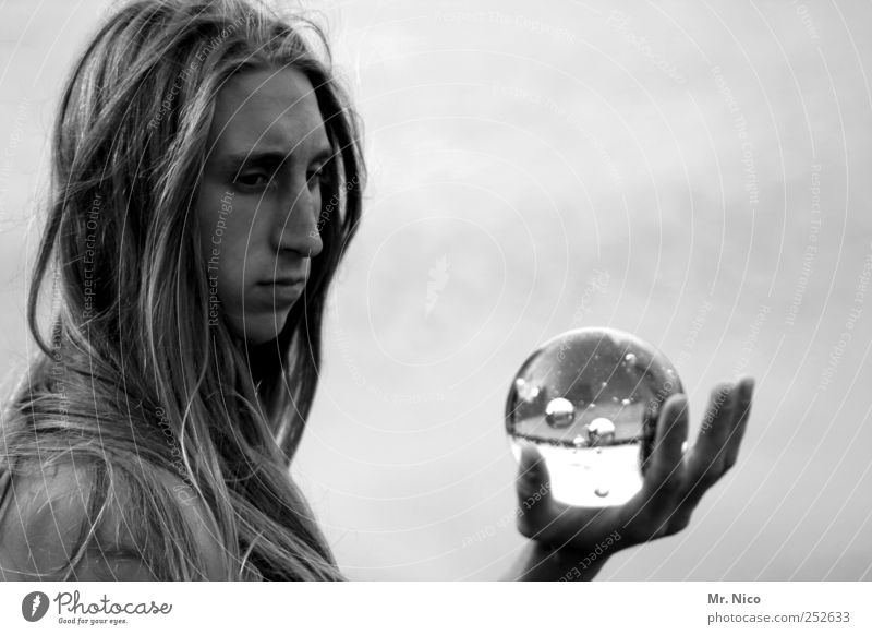 hands of time II Harmonious Relaxation Calm Meditation Masculine Young man Youth (Young adults) Face Hand Fingers Long-haired Observe Sphere Glass ball Future