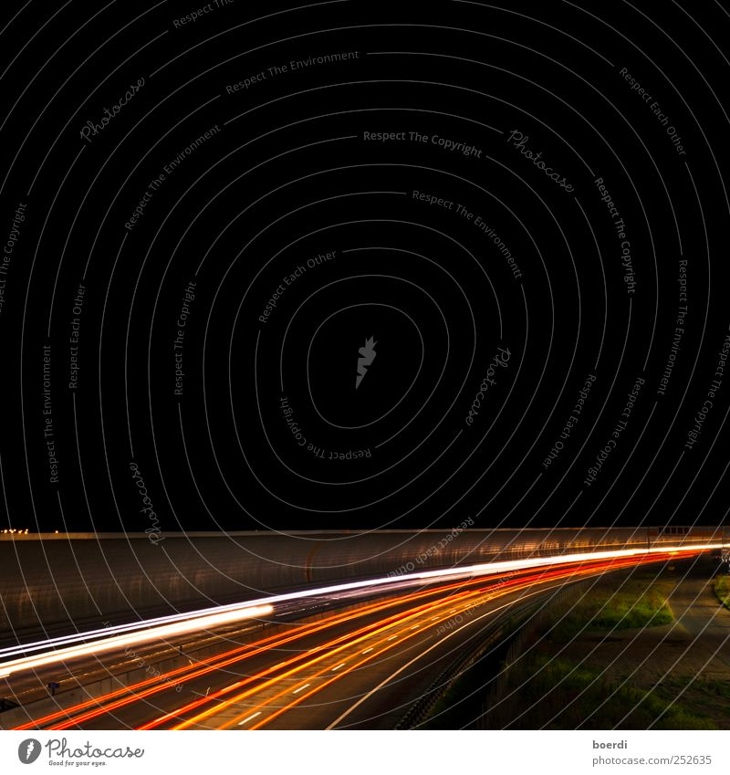 night Transport Street Highway Line Illuminate Lighting Strip of light Night shot Traffic infrastructure Exterior shot Long exposure Deep depth of field