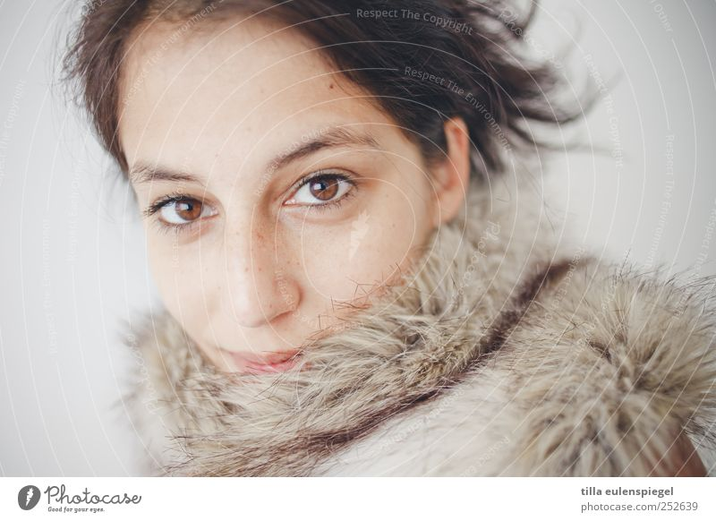 ° Feminine Woman Adults 1 Human being 18 - 30 years Youth (Young adults) Pelt Black-haired Esthetic Natural Beautiful Cold Pride Leipzig Portrait photograph