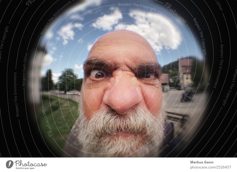Angry man at the door Joy Human being Masculine Man Adults Head 1 45 - 60 years Aggression Old Moody Anger Aggravation Grouchy Animosity Vignetting Looking