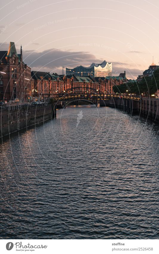 . Sunrise Sunset Beautiful weather Historic Modern Hamburg Old warehouse district Elbe Philharmonic Hall Channel Panorama (View) Colour photo Exterior shot