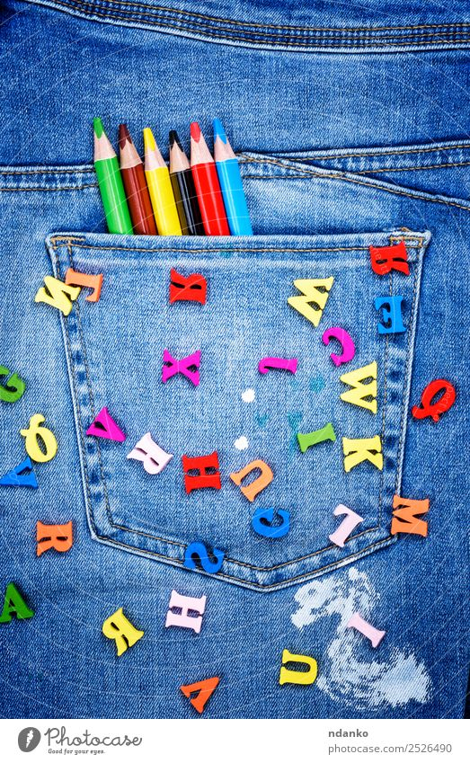 multicolored wooden letters Blue Colour White Red Yellow Wood Style School Design Bright Creativity Write Cloth Pants Jeans Pen