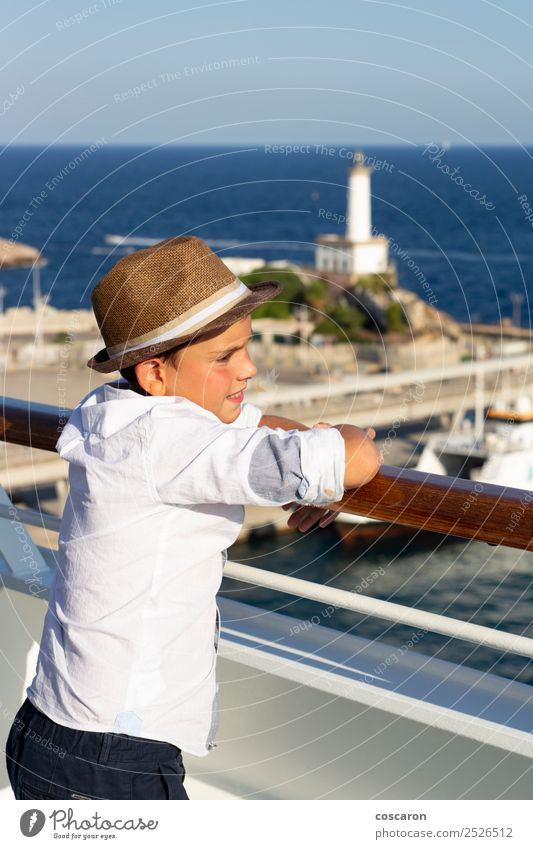 Little kid looking at sea from the railing of a cruise Child Human being Sky Nature Vacation & Travel Summer Blue Beautiful Sun White Ocean Joy Beach Lifestyle