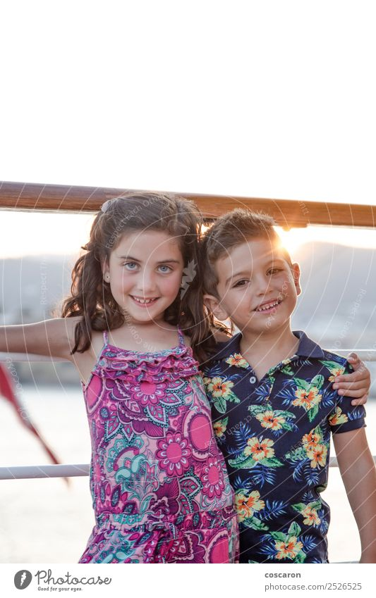 Portrait of a two little friends on a cruise at summer Joy Happy Beautiful Playing Summer Garden Child Human being Masculine Feminine Toddler Girl Boy (child)