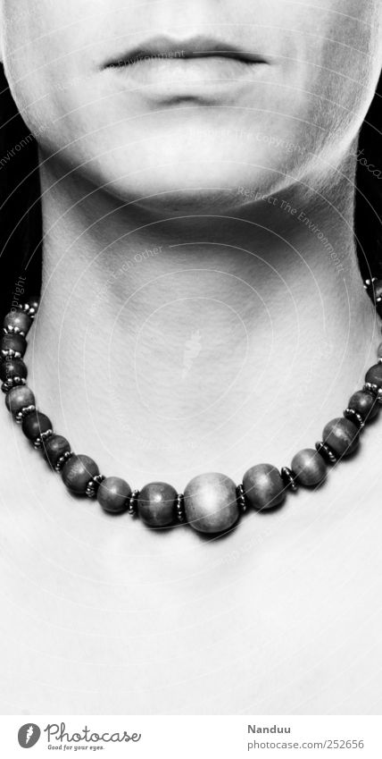 stone Neck Esthetic Necklace Cold Beautiful Earnest Skin Low neckline Smoothness Motionless Black & white photo Studio shot Copy Space bottom