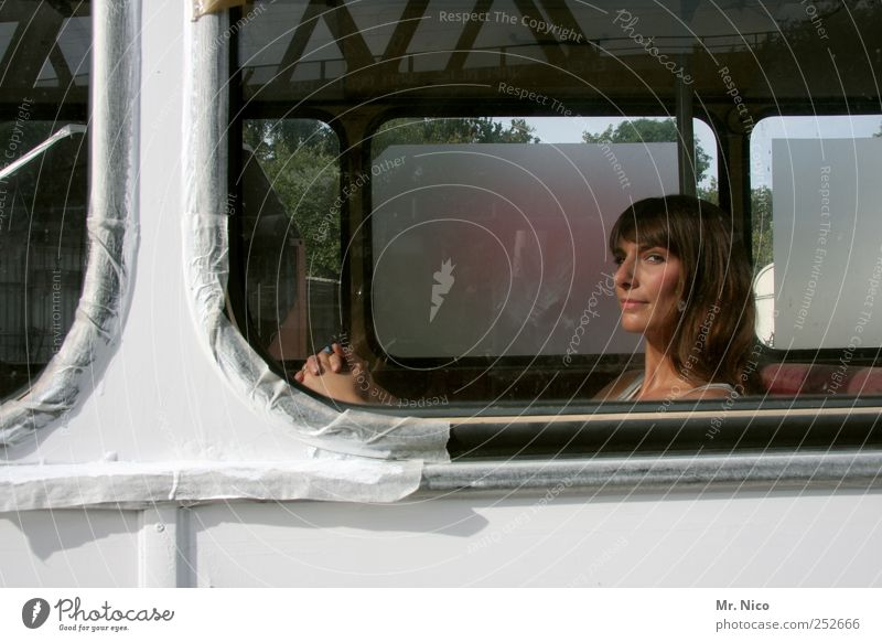 Woman Beautiful Vacation & Travel Calm Face Feminine Adults Dream Wait Observe Meditative Bus Goodbye Long-haired Wanderlust Window pane