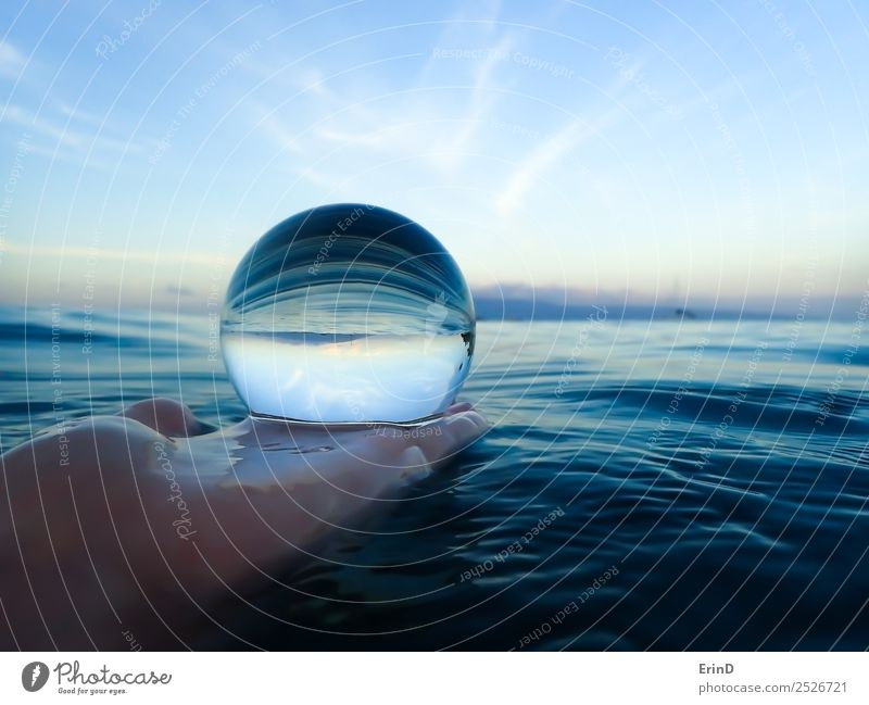 Morning Ocean in Glass Ball Design Beautiful Calm Vacation & Travel Island Nature Landscape Elements Earth Water Horizon Stripe Bright Uniqueness Blue White