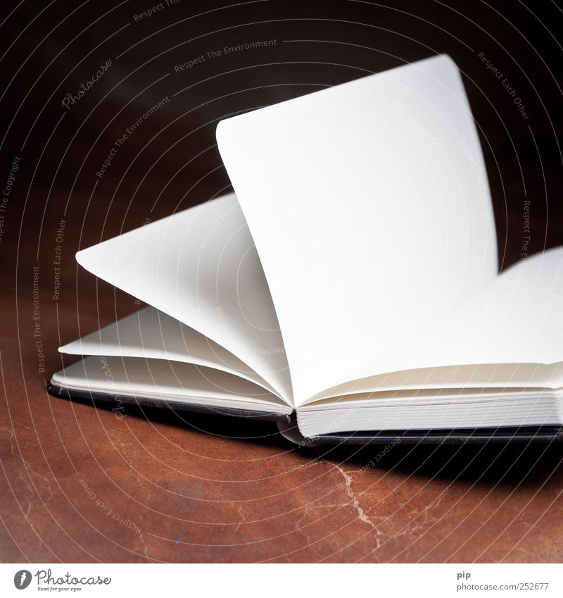 White Dark Brown Book Open Paper Empty Reading Calendar Page Leather Notebook Booklet Diary Struck