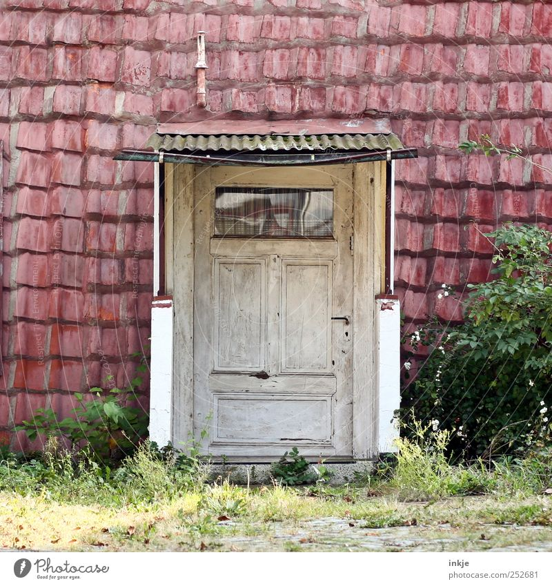 spooky neighborhood Bushes Deserted Hut Facade Window Door Roof Eaves Chimney Front door Entrance Wooden door Old Dark Simple Original Trashy Gloomy Wild Red