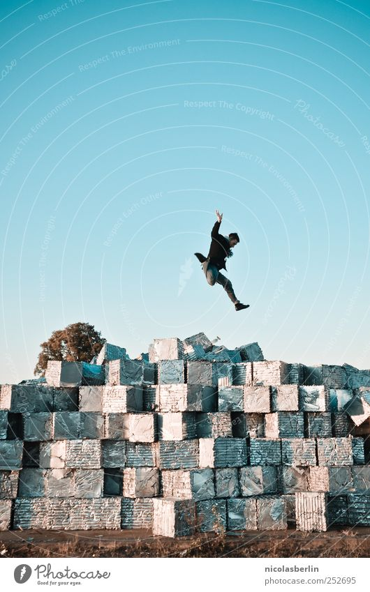 B@DD 11, lucky jump! Vacation & Travel High-tech Astronautics Masculine Man Adults Life Human being Environment Ruin Wall (barrier) Wall (building) Package